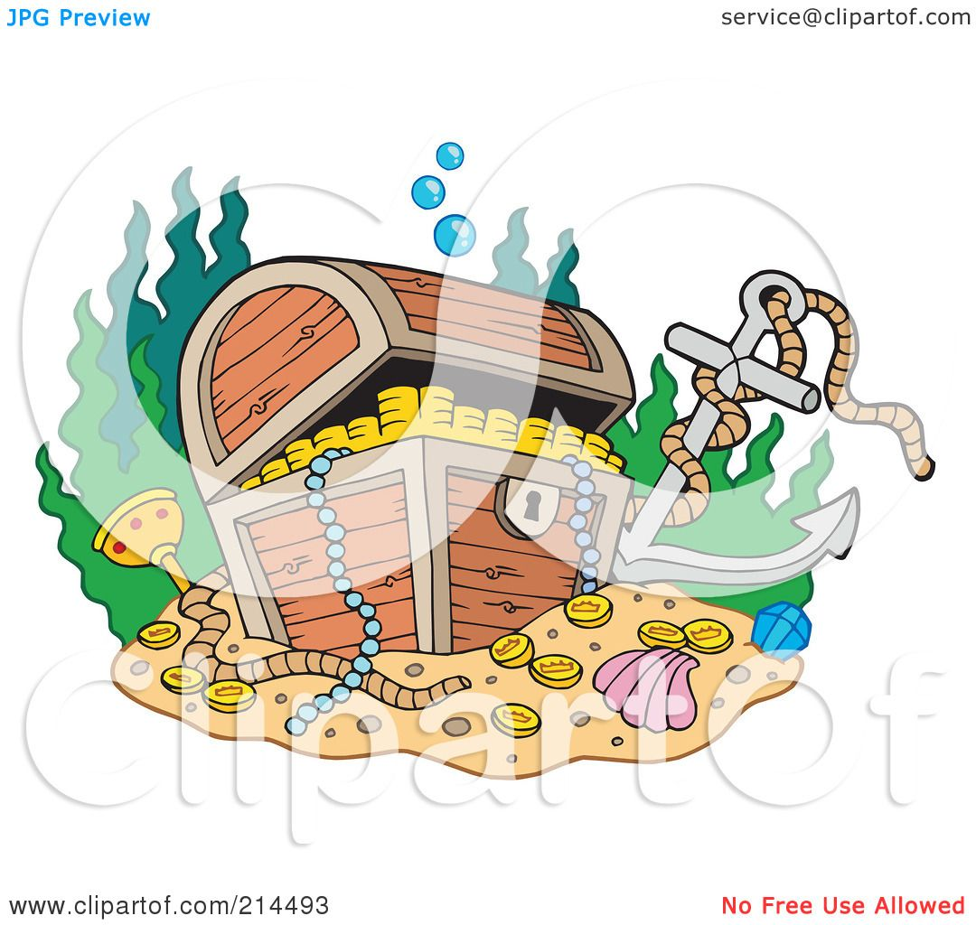Underwater Scenery With An Open Treasure Chest And Sunken Pirate.. Royalty Free  Cliparts, Vectors, And Stock Illustration. Image 51626469.