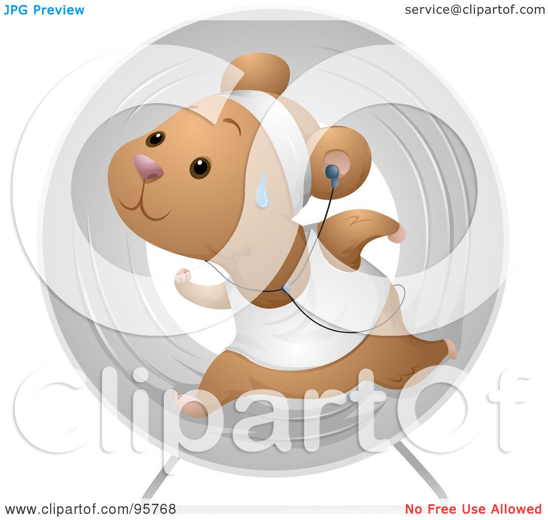 royalty free rf clipart illustration of a sweaty hamster running