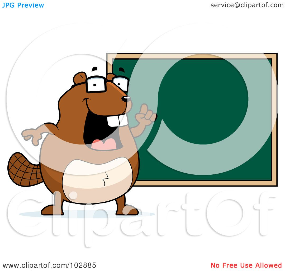 Royalty-Free (RF) Clipart Illustration of a Teacher Beaver Pointing ...