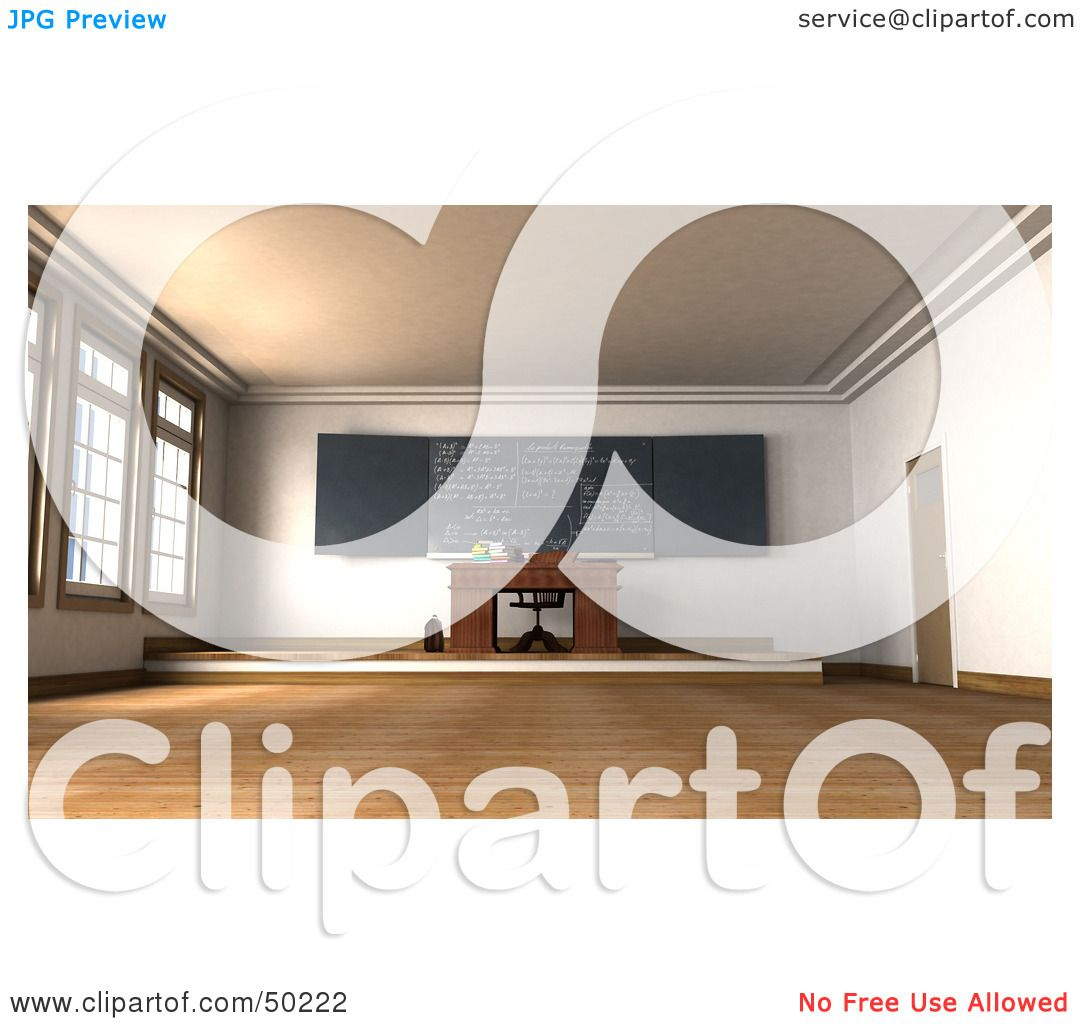 Royalty-Free (RF) Clipart Illustration of a Teachers Desk With Math ...