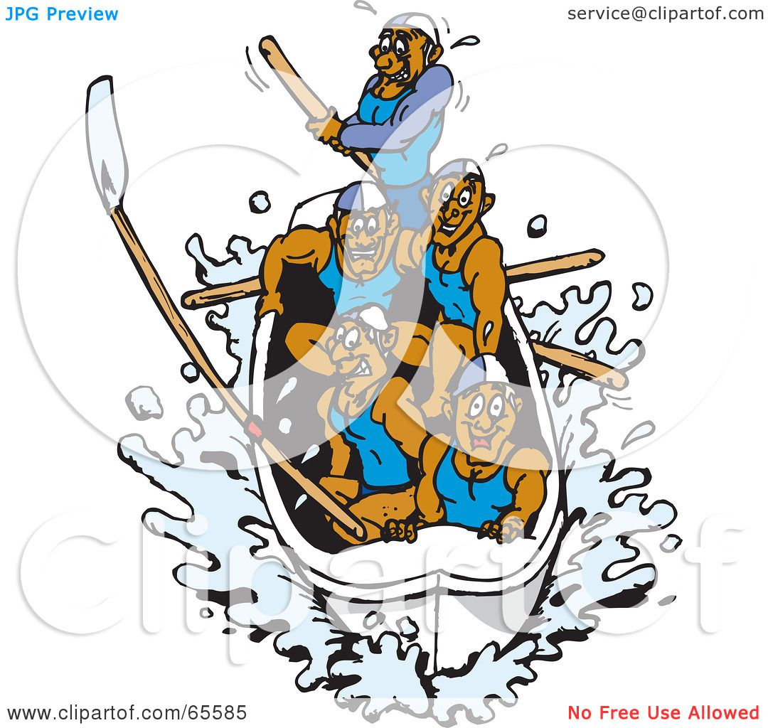 Team Rowing Clipart Team of Men Rowing a Boat