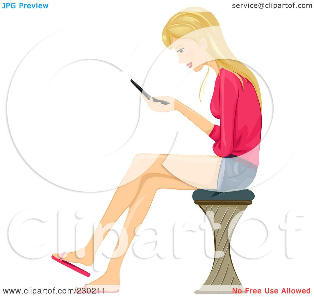 girl texting clipart-#5