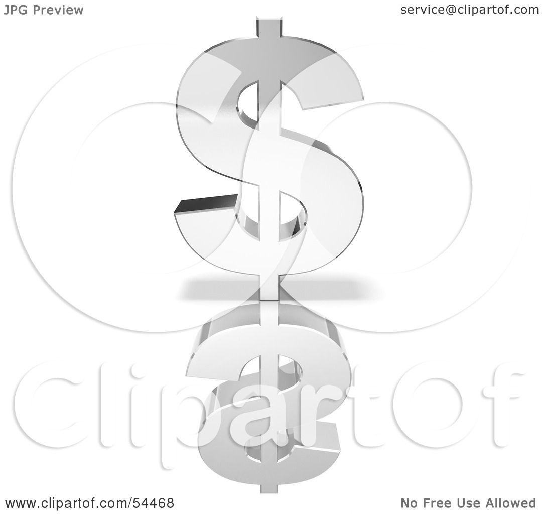 Royalty Free Rf Clipart Illustration Of A Thick Silver 3d Dollar