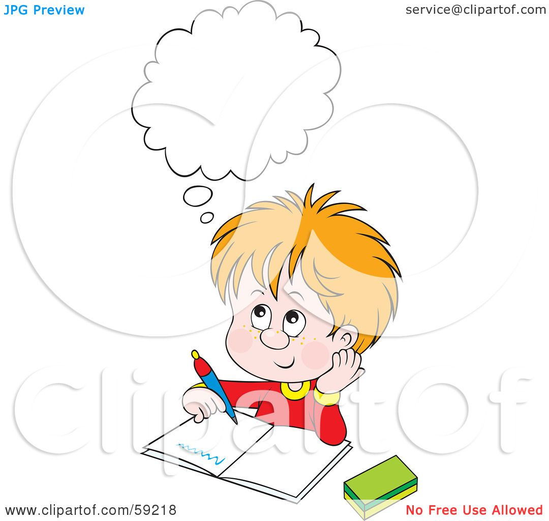 Royalty-Free (RF) Clipart Illustration of a Thinking ...