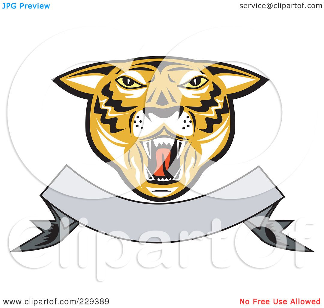 Royalty Free RF Clipart Illustration Of A Tiger Head And Blank Banner Logo By Patrimonio