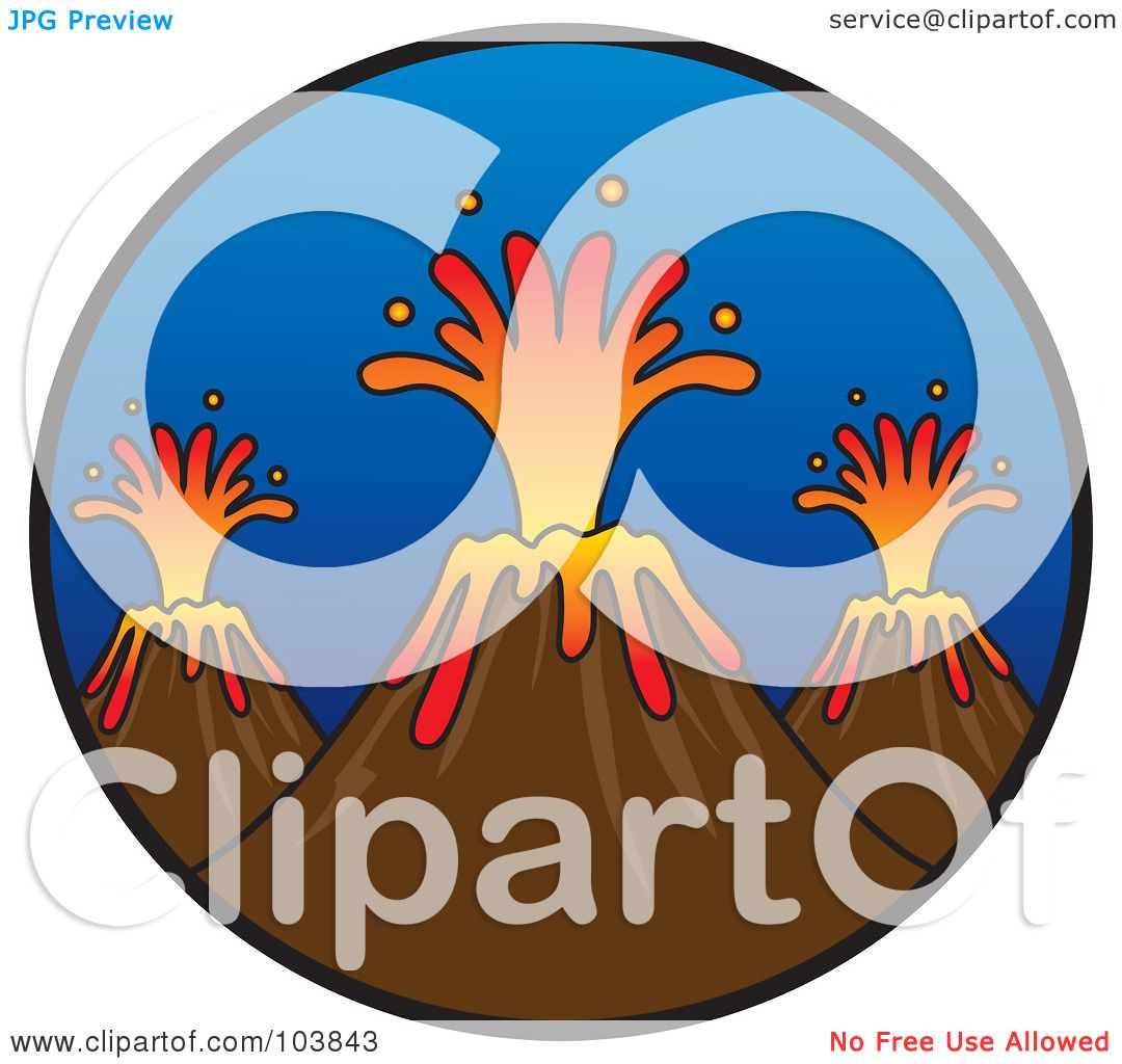 Royalty-Free (RF) Clipart Illustration of a Trio Of Erupting ...