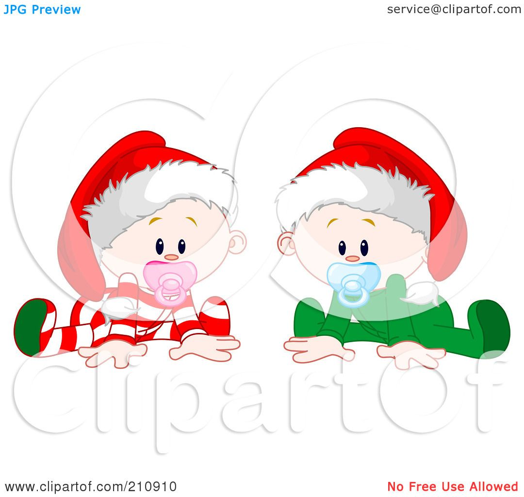 Royalty-Free (RF) Clipart Illustration of a Twin Baby Boy And Girl ...