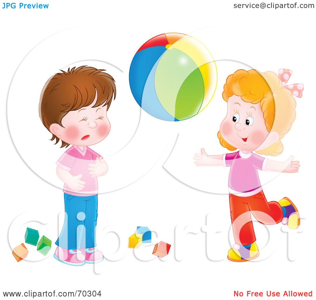 Adorable Little Girl Playing With Beach Toys During: Royalty-Free (RF) Clipart Illustration Of A Two Little