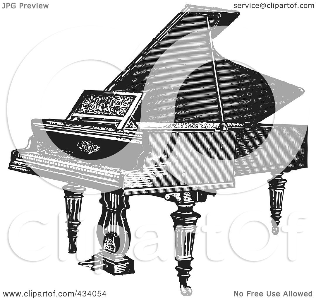 Royalty-Free  RF  Clipart  Upright Piano Clip Art Black And White