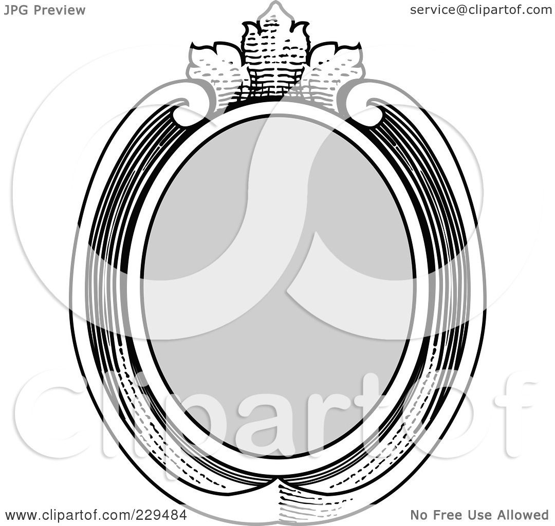 Black And White Oval Frame Vintage Oval Frame Drawings