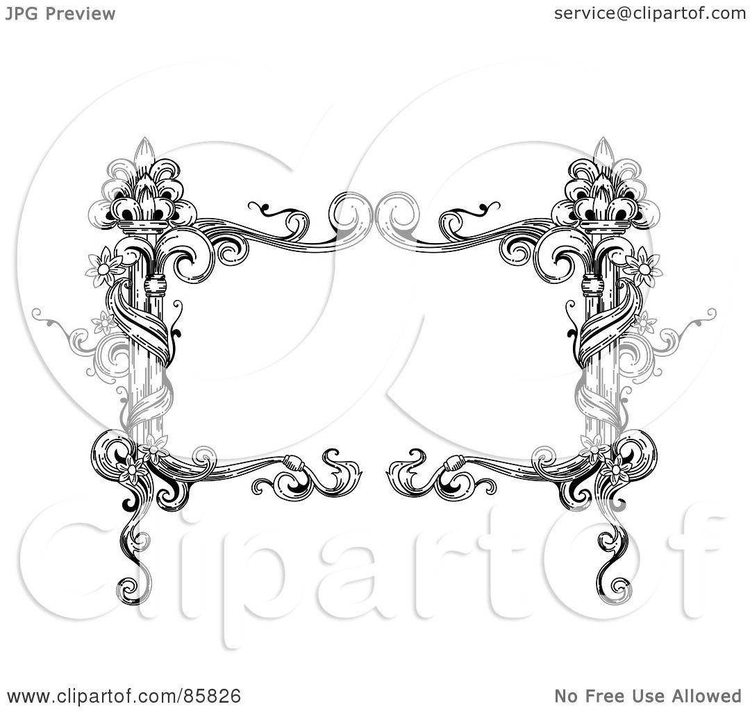 Royalty Free RF Clipart Illustration Of A Vintage Black And White Rectangular Floral Vine Text Box By BNP Design Studio