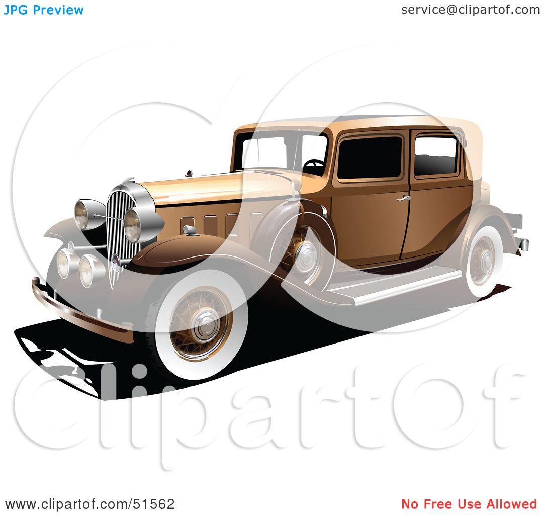 royaltyfree rf clipart of a vintage gold car with white wall tires by leonid