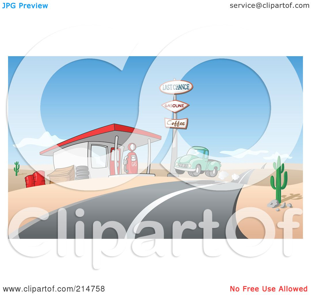 Green truck clipart royalty free rf pickup truck clipart - Royalty Free Rf Clipart Illustration Of A Vintage Green Pickup Truck Pulling Into A Gas Station In A Desert By Holger Bogen