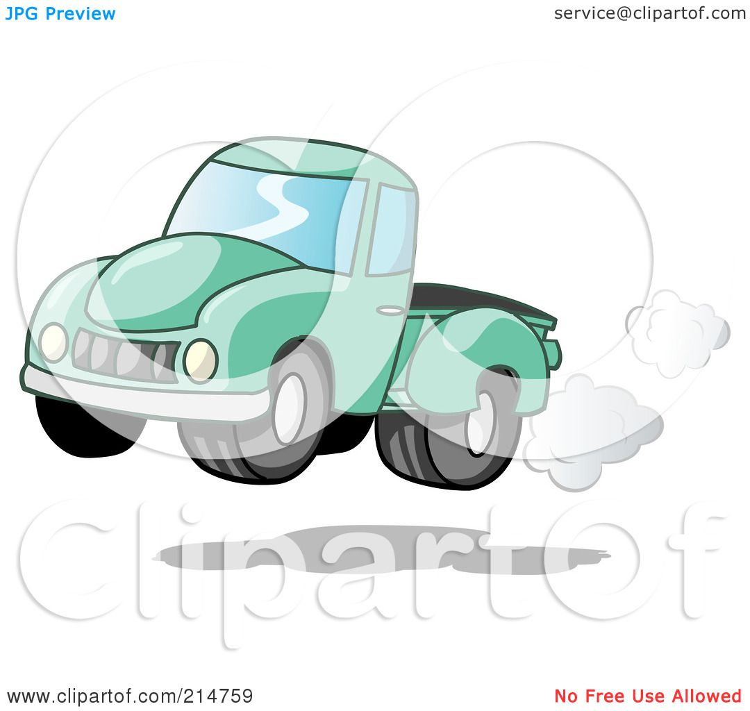 Green truck clipart royalty free rf pickup truck clipart - Royalty Free Rf Clipart Illustration Of A Vintage Green Pickup Truck With Exhaust Clouds By Holger Bogen