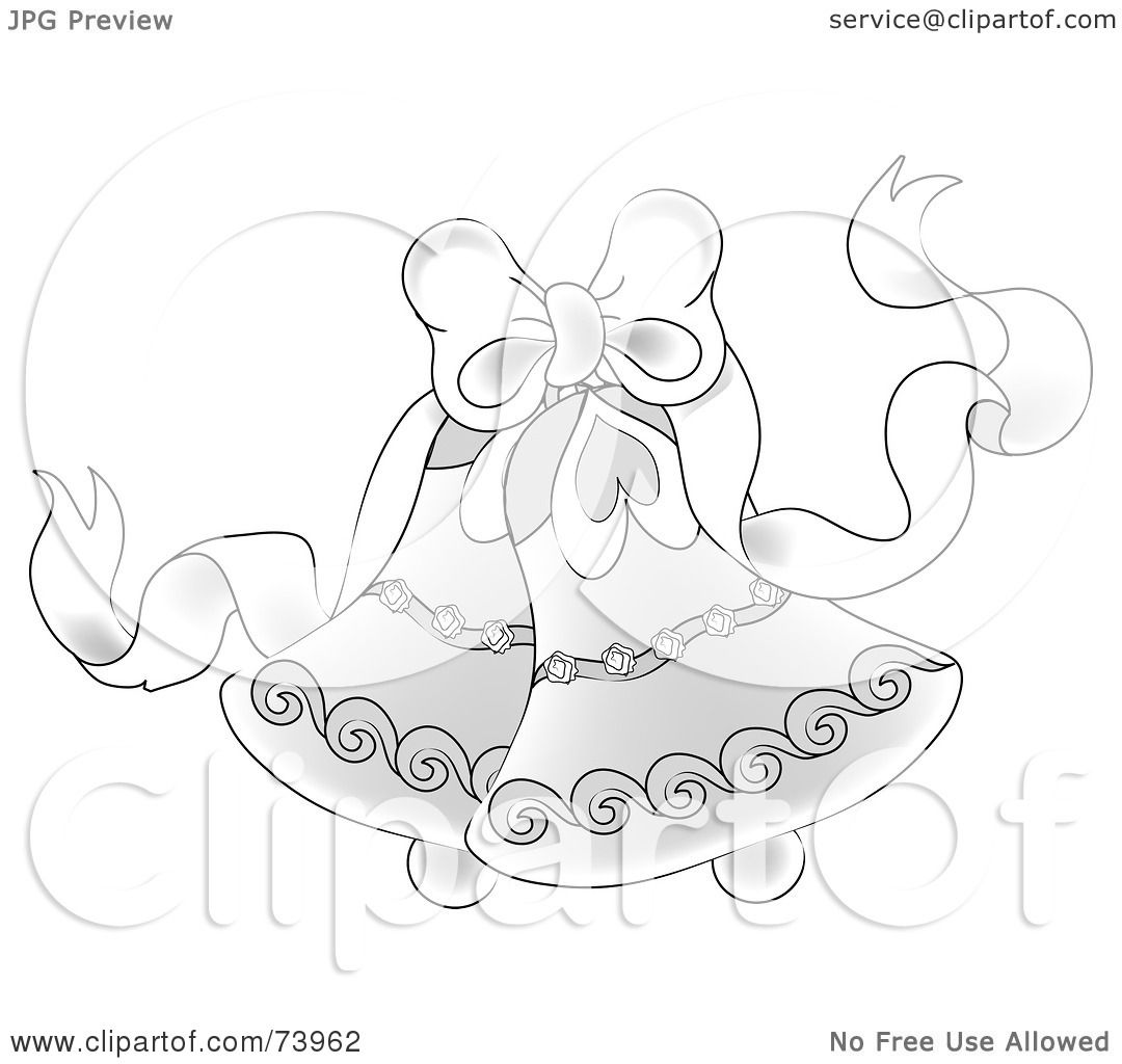 Elegant Wedding Bells: Royalty-Free (RF) Clipart Illustration Of A White Bow With