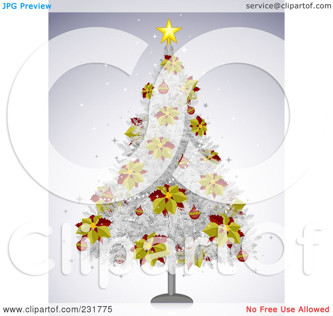 Royalty free rf clipart illustration of a white for Red and yellow christmas tree