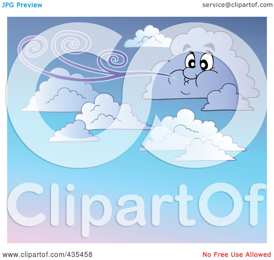 Windy Cloud Clipart Of a windy cloud in a