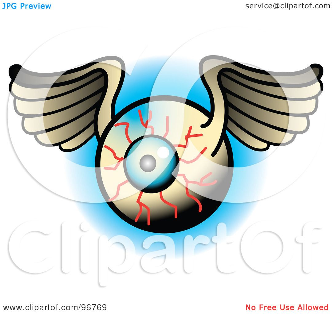 9926f8fdf Royalty-Free (RF) Clipart Illustration of a Winged Bloodshot Eyeball Tattoo  Design by