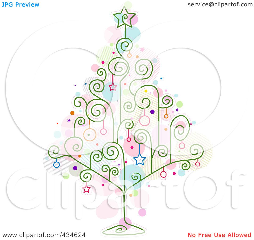 Royalty Free (RF) Clipart Illustration Of A Wire Swirl Christmas Tree With  Star Ornaments By BNP Design Studio
