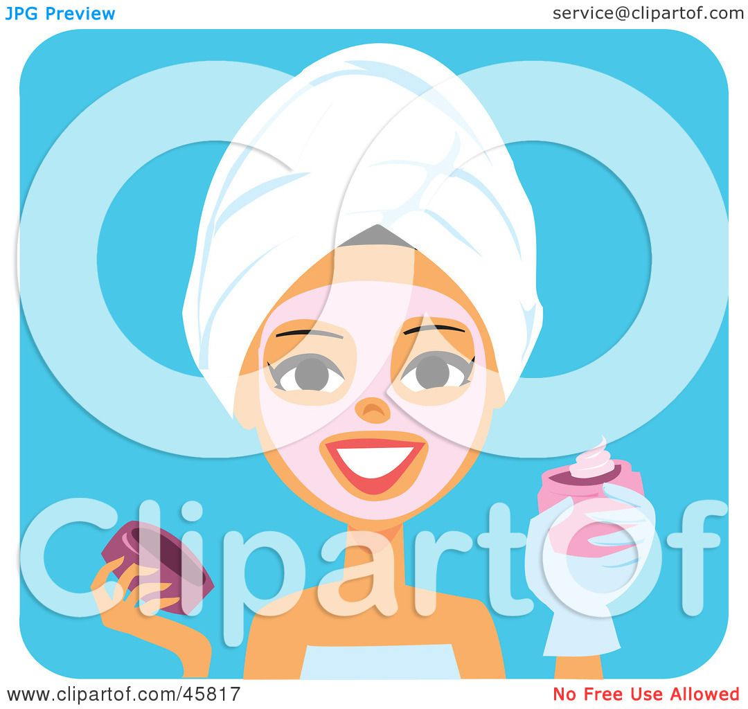 Royalty-free (RF) Clipart Illustration of a Woman Applying ...