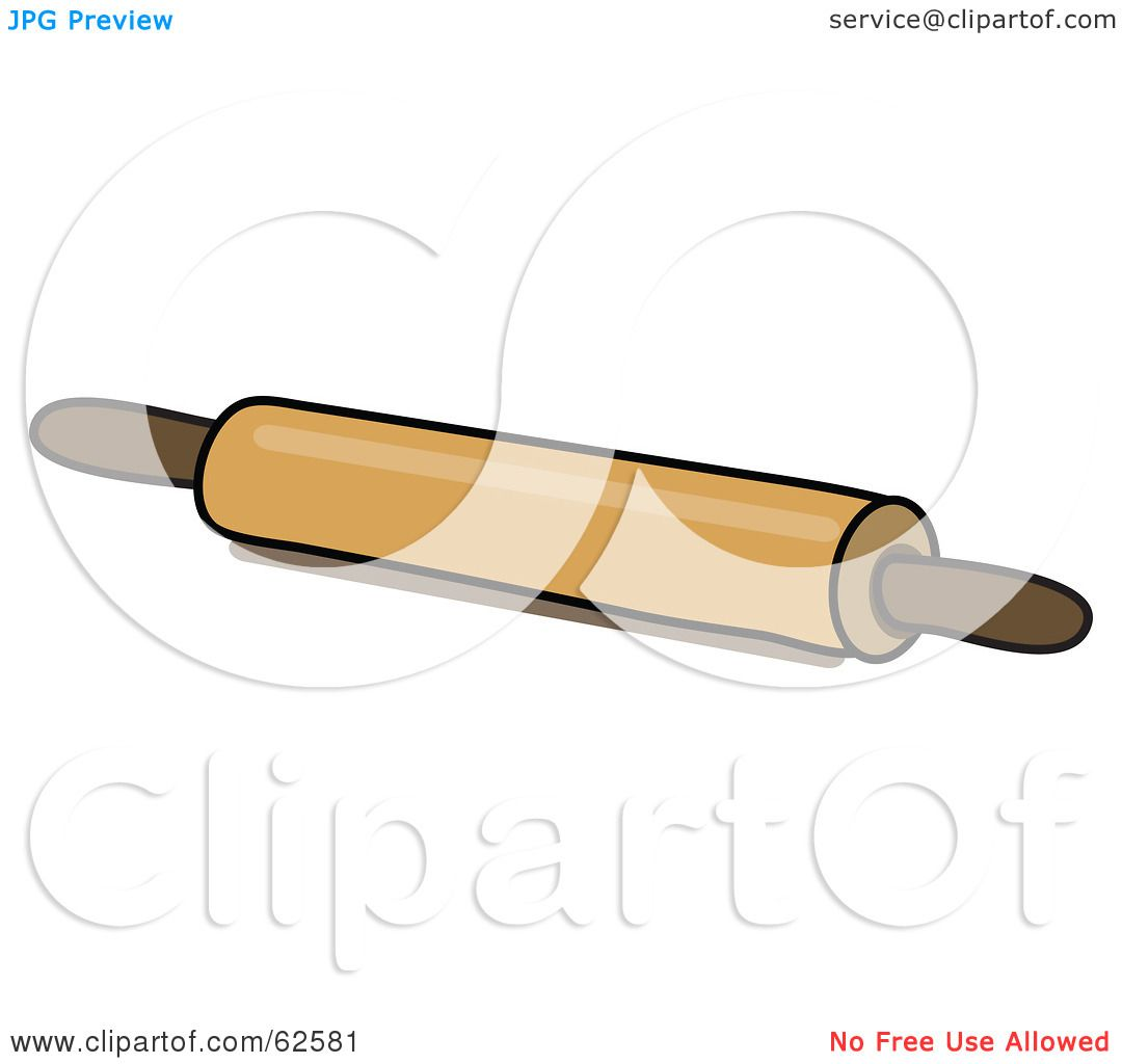 Royalty-Free (RF) Clipart Illustration of a Wood Kitchen Rolling Pin ...