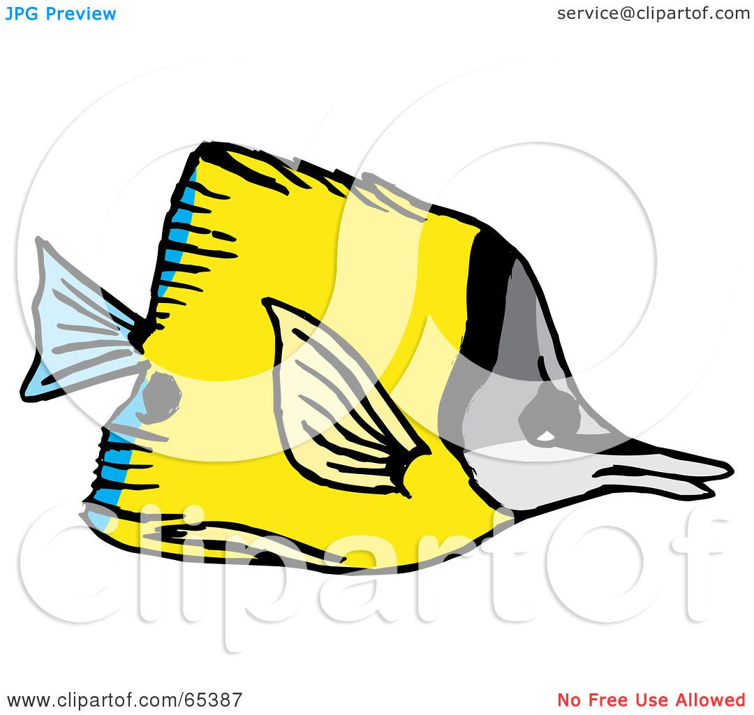 Royalty-Free (RF) Clipart Illustration of a Yellow Butterfly Fish ...