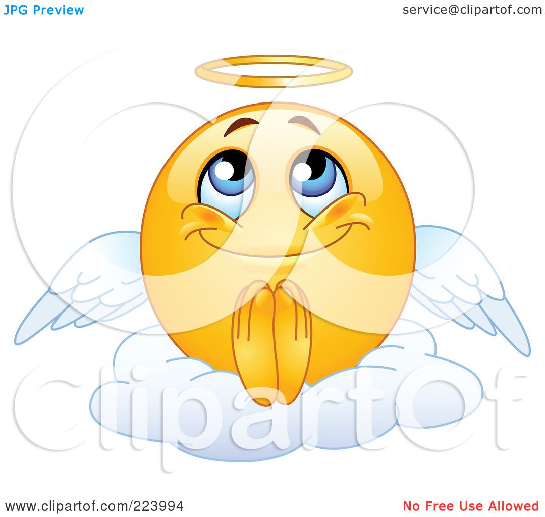 Royalty Free Rf Clipart Illustration Of A Yellow Emoticon Angel