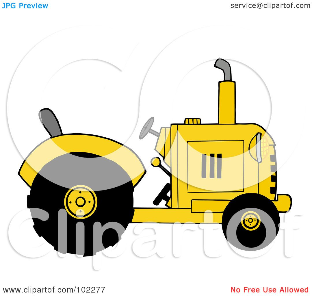Yellow Tractor Clip Art : Royalty free rf clipart illustration of a yellow farm
