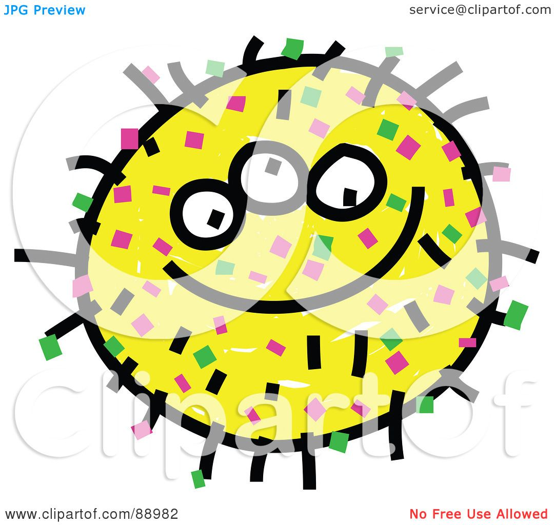 Royalty free rf clipart illustration of a yellow grinning germ