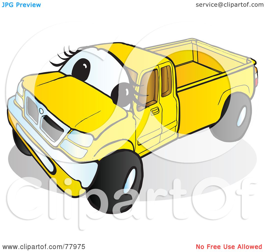 Green truck clipart royalty free rf pickup truck clipart - Royalty Free Rf Clipart Illustration Of A Yellow Pickup Truck With A Face By Snowy