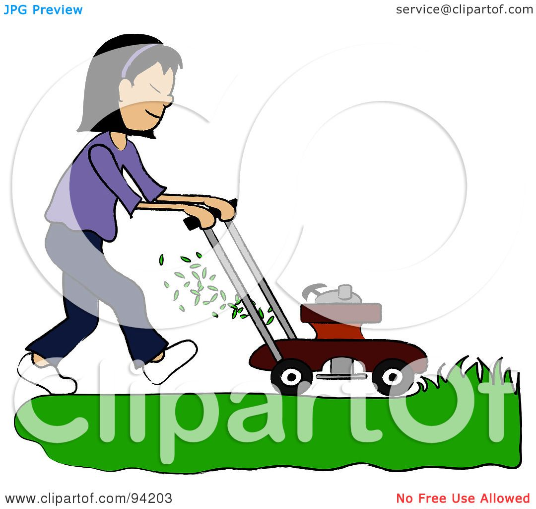 royalty free rf clipart illustration of an asian girl mowing a rh clipartof com
