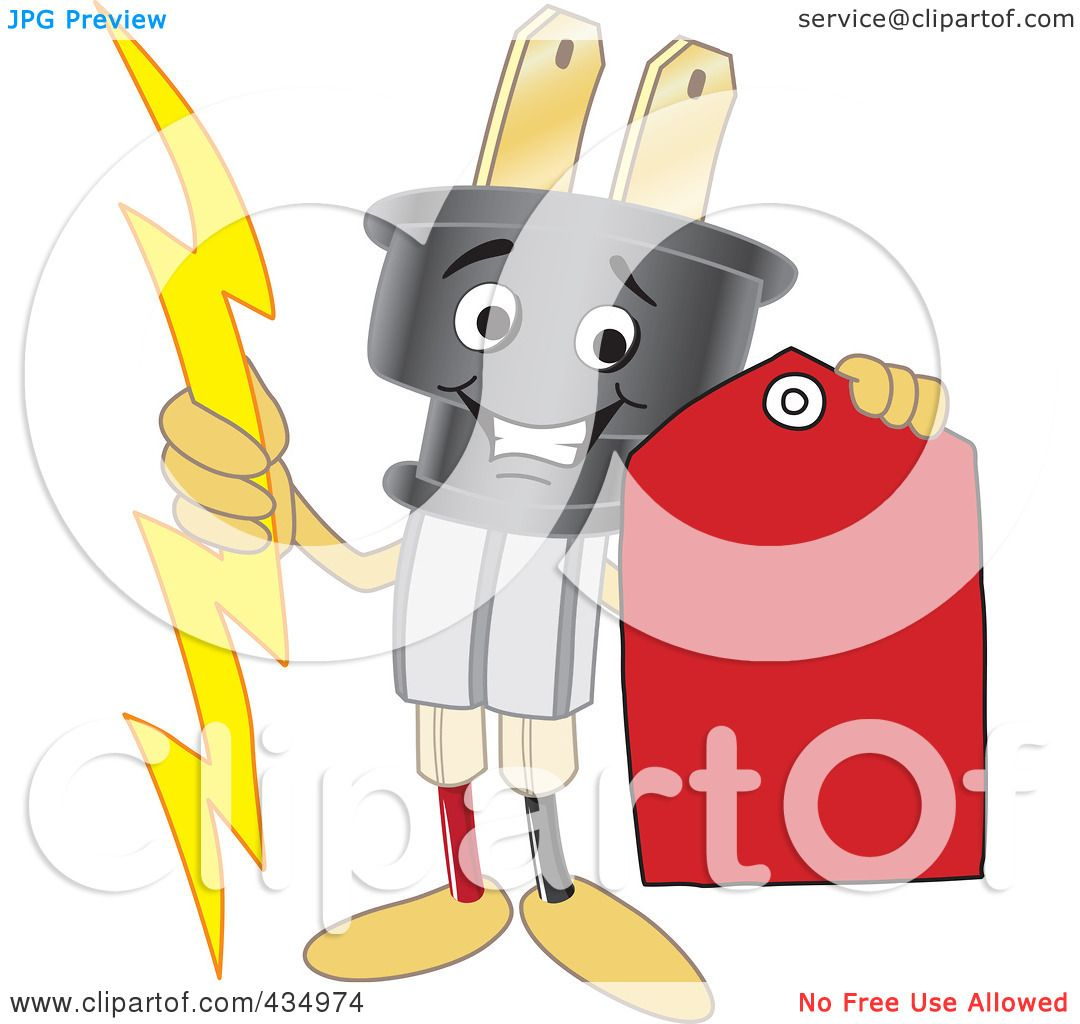 Royalty Free Rf Clipart Illustration Of An Electric Plug Mascot