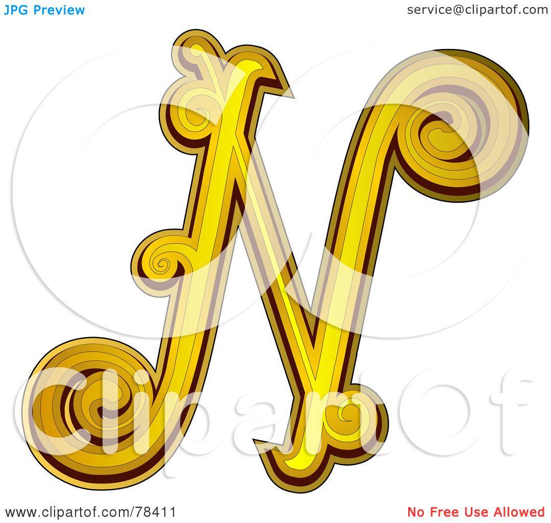Royalty-Free (RF) Clipart Illustration of an Elegant Gold ...