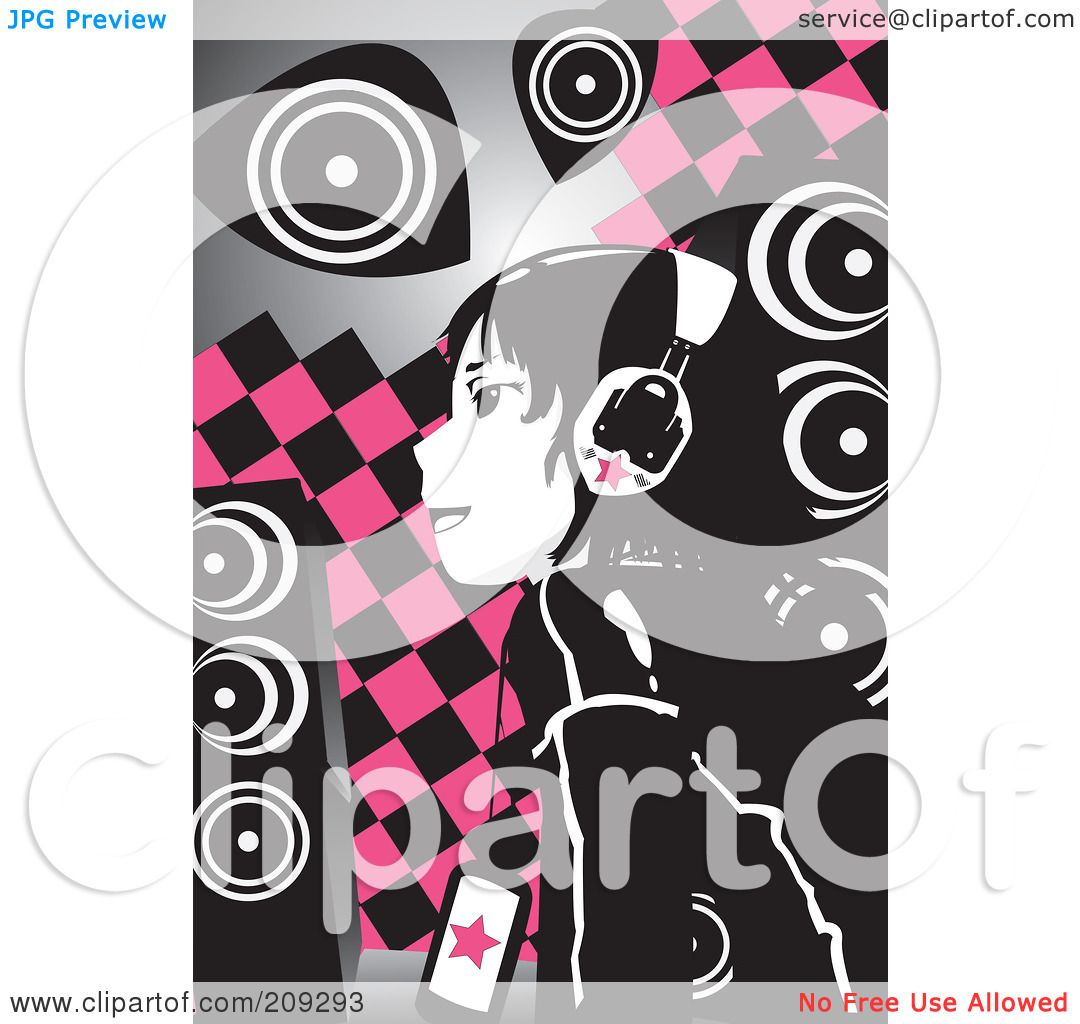 Royalty-Free Rf Clipart Illustration Of An Emo Girl -8258