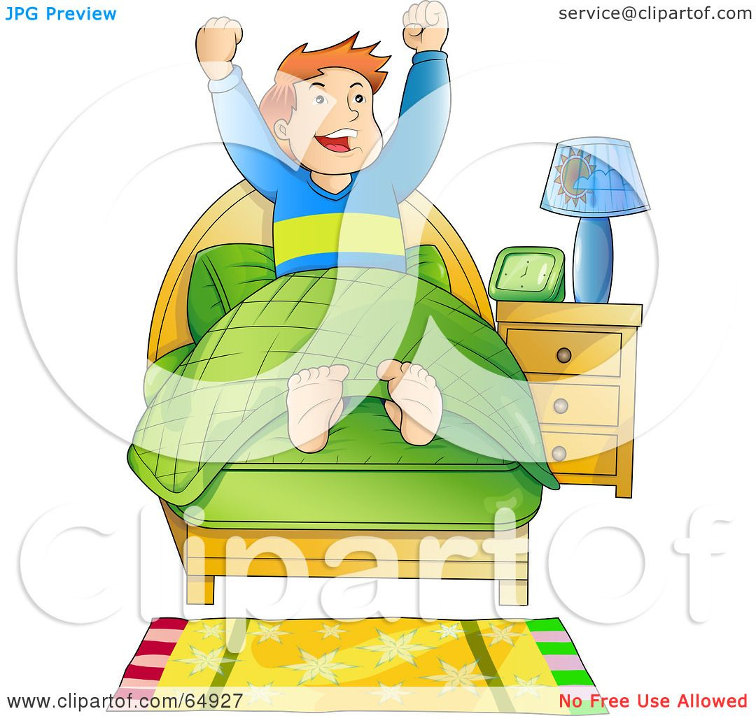 RF  Clipart Illustration of an Energetic Boy Waking Up In The Morning    Clipart Boy Waking Up In The Morning
