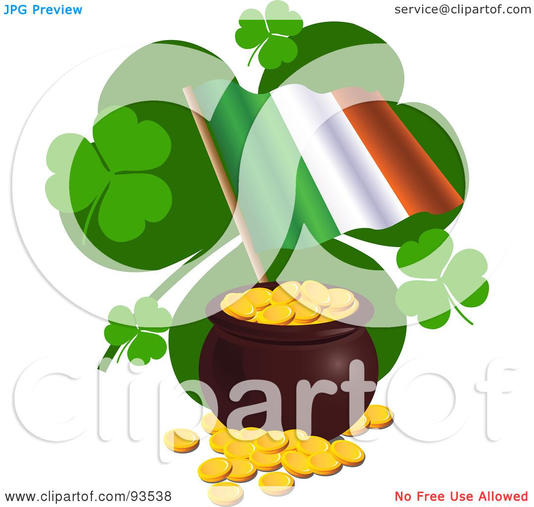 clipart of a shiny irish flag map royalty free vector
