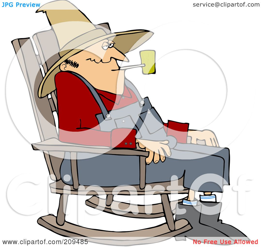 ... Old Man Smoking A Pipe And Sitting In A Rocking Chair by djart #209485