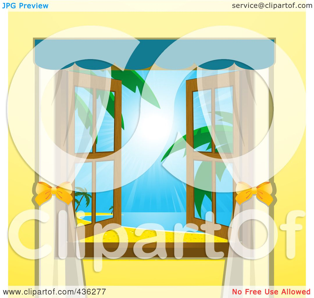 Open window beach - Royalty Free Rf Clipart Illustration Of An Open Window With A View Of A Tropical Beach By Elaineitalia