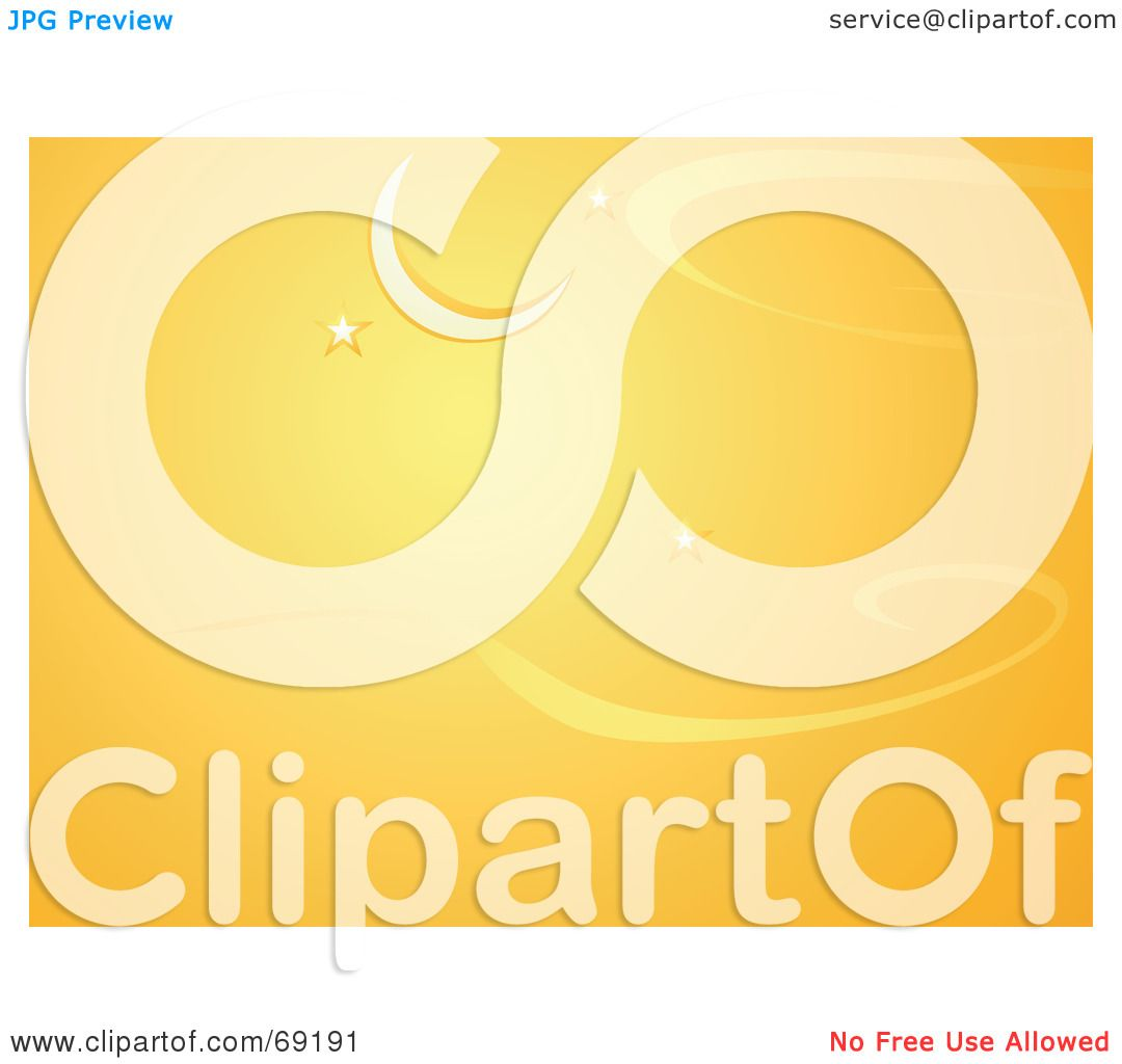 Royalty-Free (RF) Clipart Illustration of an Orange Crescent Moon And ... Orange Moon Clipart