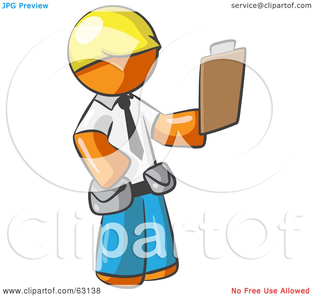Royalty Free Clipart Illustration Orange Man Construction
