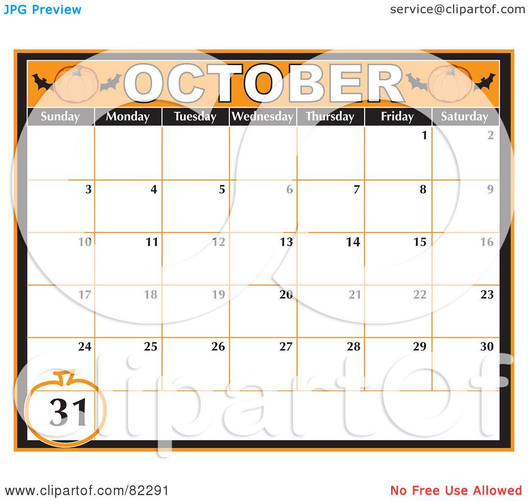 October Calendar Clipart images - October Halloween Calendar