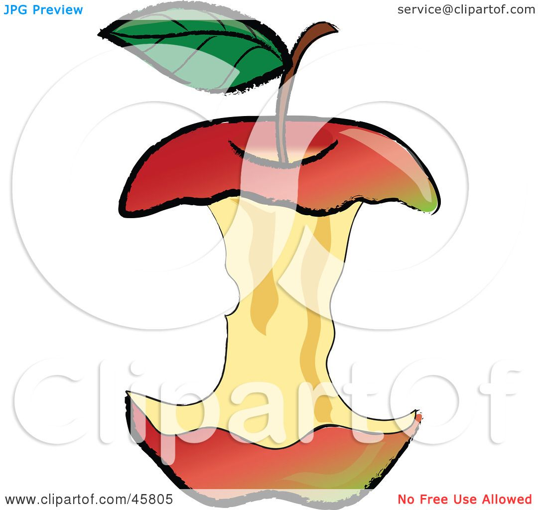 royalty free rf clipart illustration of an organic red apple core rh clipartof com Bitten Apple Clip Art apple core clipart