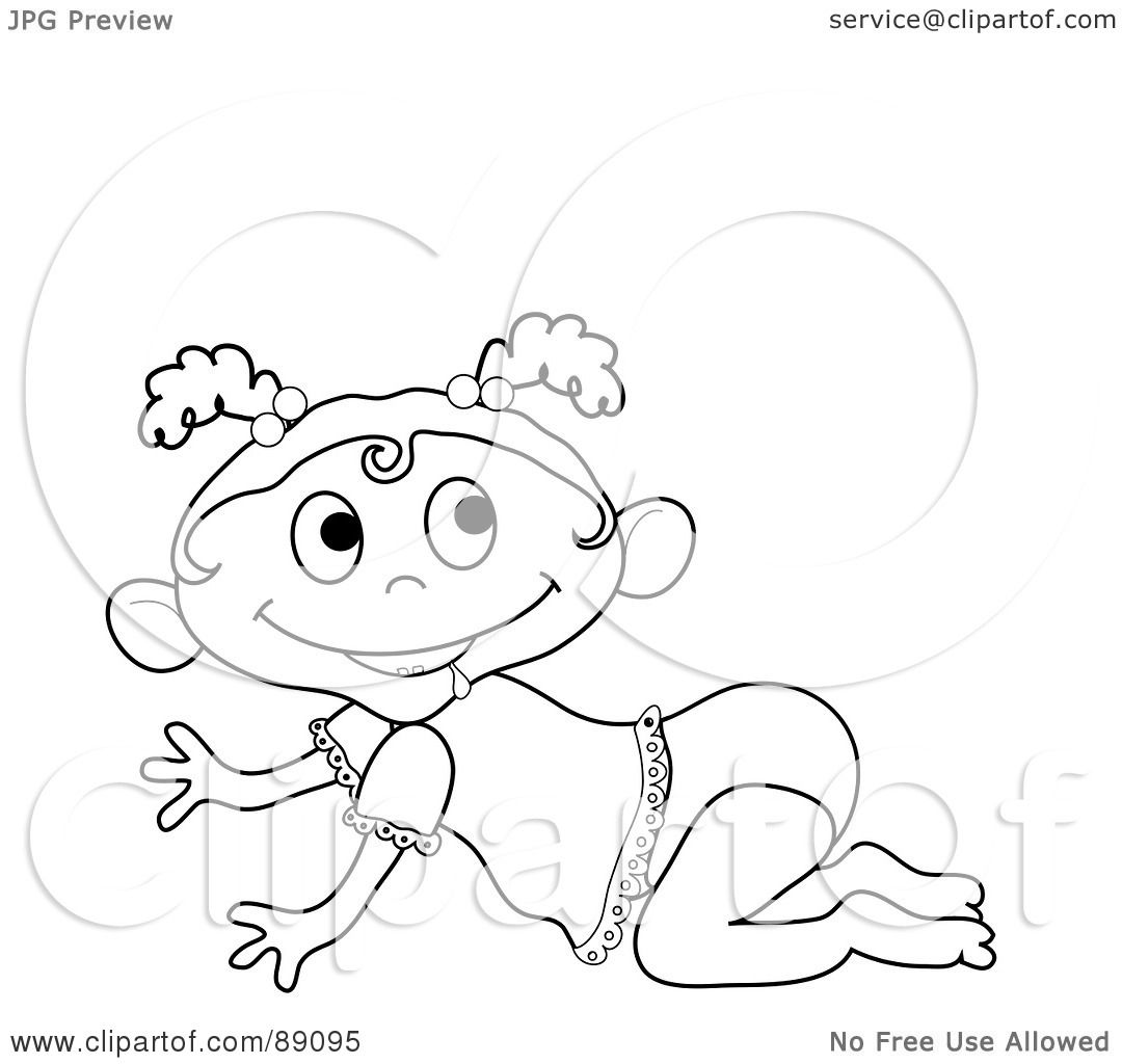 Clipart of a Cute Baby Girl Alien Sitting in a Diaper