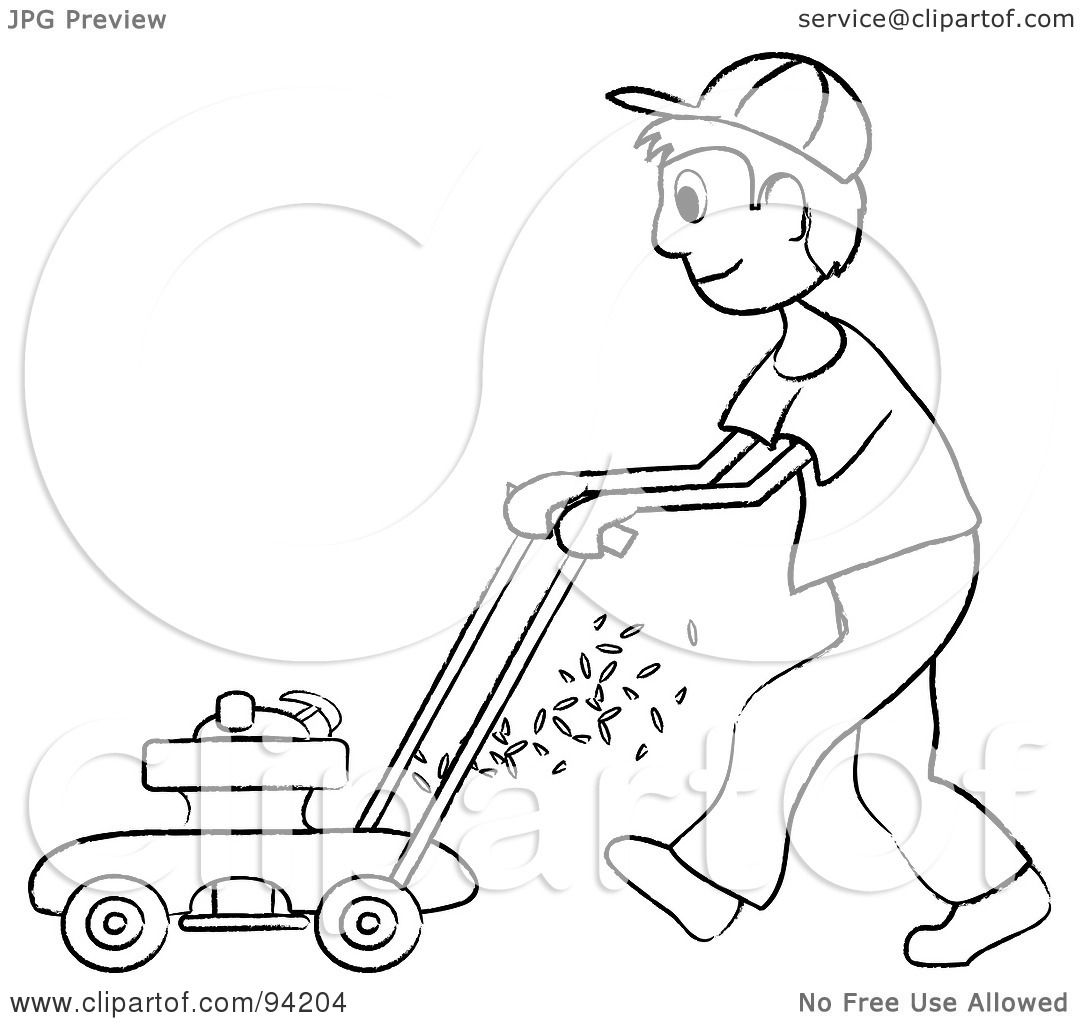 Mowing child colouring pages for Lawn mower coloring page