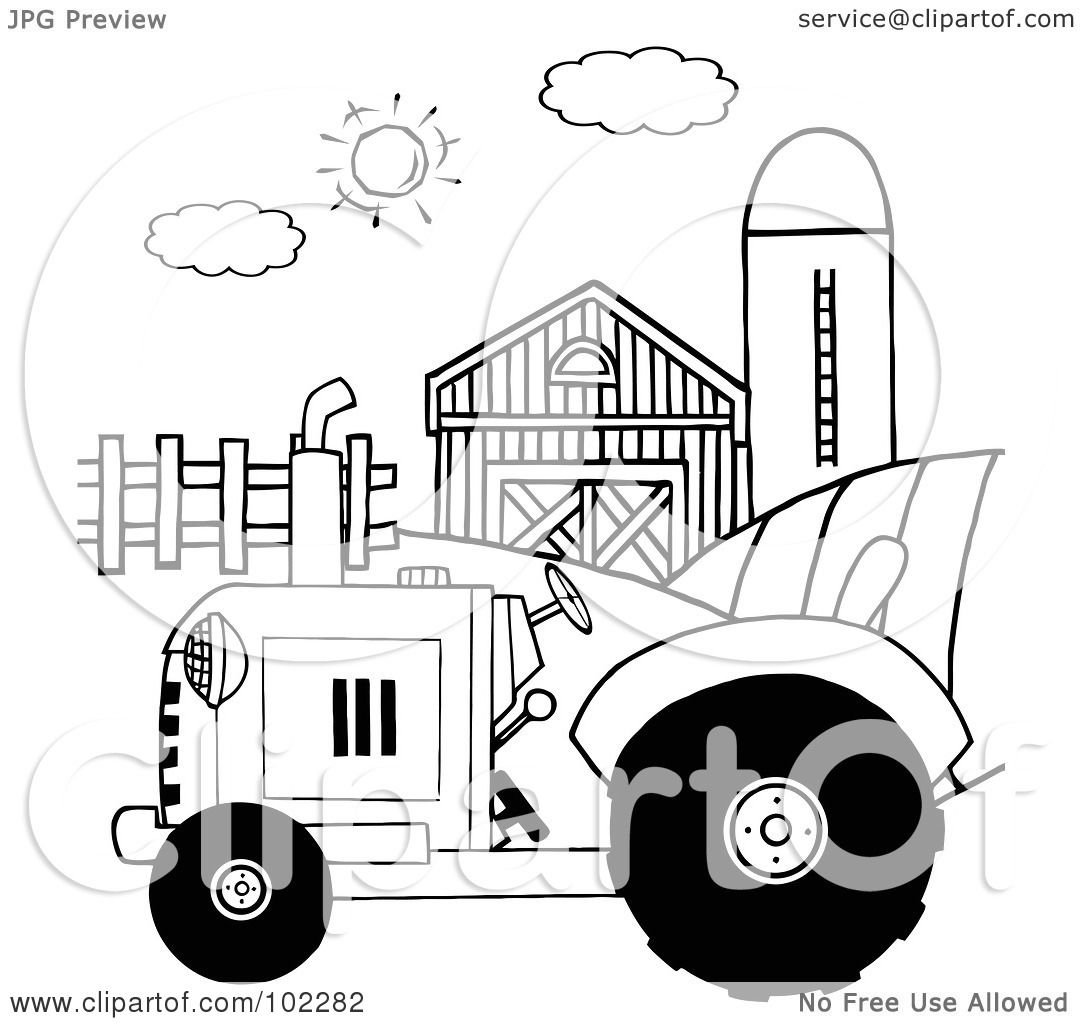 royalty free rf clipart illustration of an outlined farm tractor in a pasture near a barn and silo by hit toon