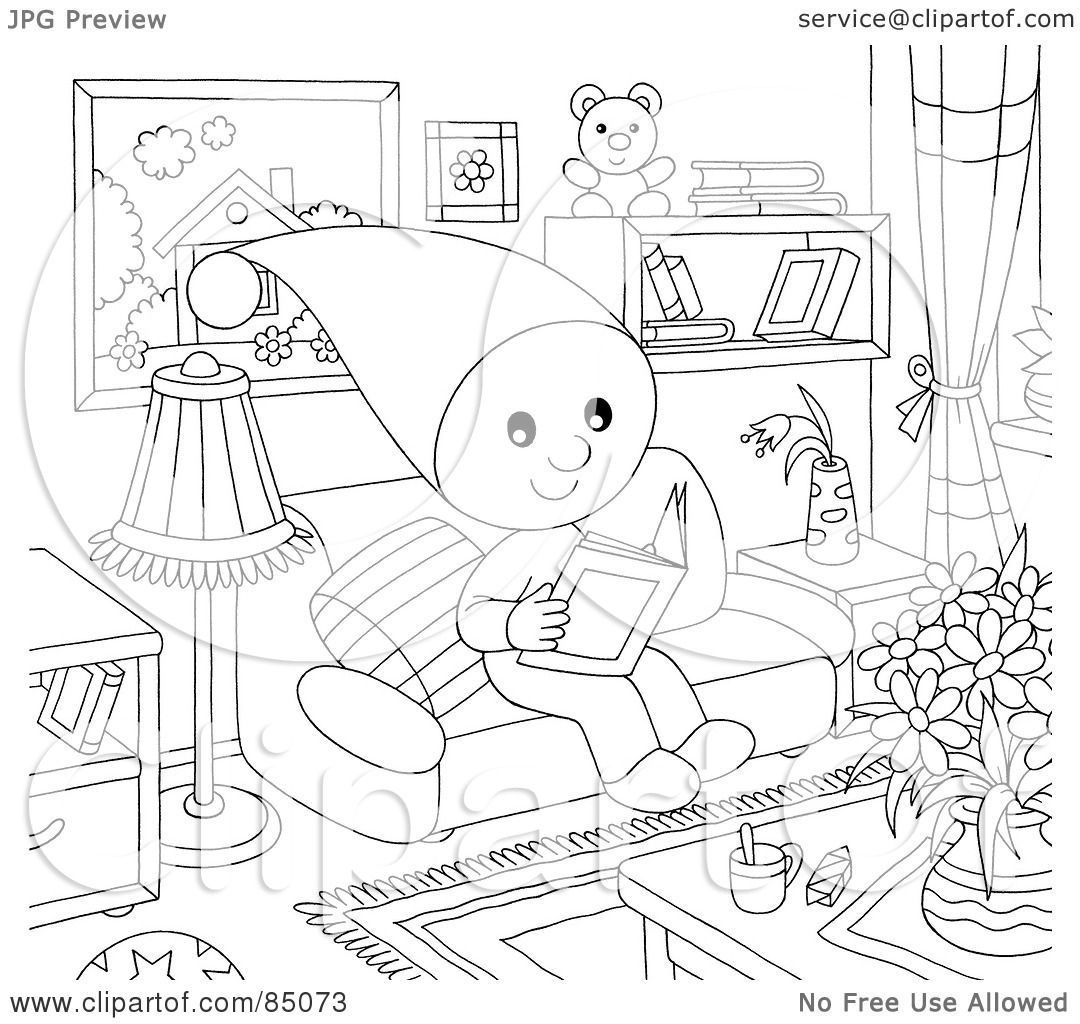 Living room clipart black and white - Royalty Free Rf Clipart Illustration Of An Outlined Little Elf Reading A Book In A Living Room By Alex Bannykh