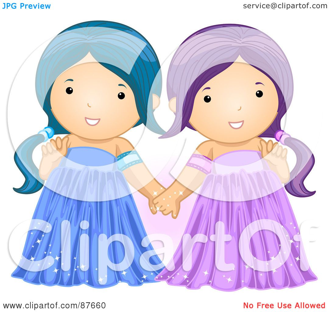 Royalty-Free (RF) Clipart Illustration of Astrological Cute Gemini ...