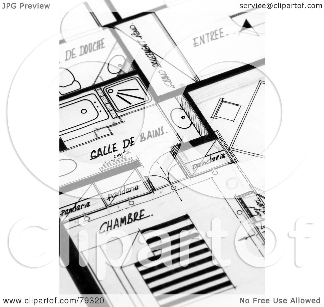 Apartment Building Blueprints royalty-free (rf) clipart illustration of black and white