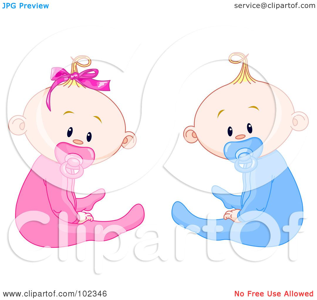 Royalty-Free (RF) Clipart Illustration of Boy And Girl Baby Twins ...