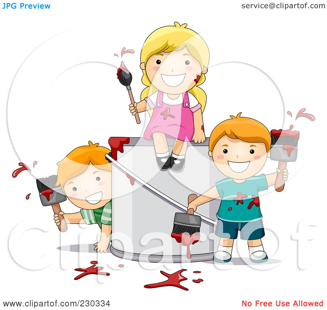 royalty free rf clipart illustration of children painting by bnp